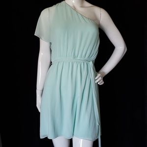 EXPRESS mint one shoulder sheer overlay dress